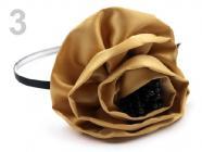 Čelenka kovová s květem 110 mm - hnědá nejsvětlejší