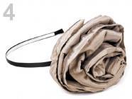 Čelenka kovová s květem O100mm 100511 - béžová tmavá