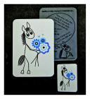 Koník a kytička (modrá)
