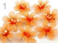 Květinka průměr 5,5 cm spínací špendlík - oranžová