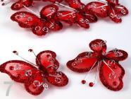 Motýl 5x5,5cm s kamínky se spínacím špendlíkem 190802 -True Red
