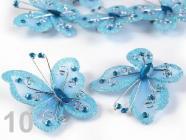 Motýl 5x5,5cm s kamínky se spínacím špendlíkem 190802 - Blue Danube