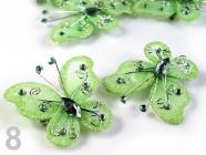 Motýl 5x5,5cm s kamínky se spínacím špendlíkem 190802 - Patina Green