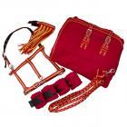 Set (fleece deka + ohláka + vodítko+ mosquero + bandáže) - červeno/žlutá