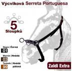 Výcviková ohlávka s portugalskou serretou s 5 sloupky - hnědá pálená